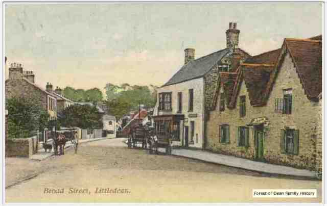 Postcard picture of what Littledean looks like today.  I believe I located the house where Richard and Elizabeth Newman were living it was very near the corner shown here.
