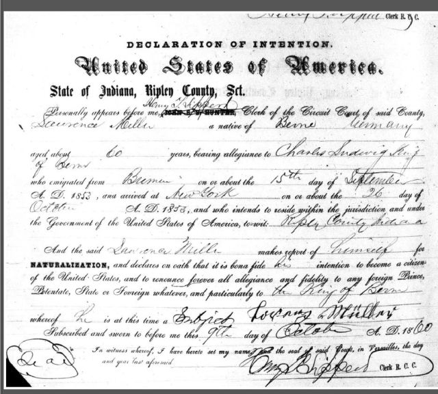 Lörenz Müller or Laurence Miller 1860 Declaration of Intent Ripley County, Indiana