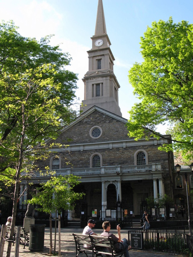 St Mark's is located at the corner of Tenth and Second St's in New York City.  Nice old section of town.  There was one pew chained to a drinking fountain when I visited in 1996.