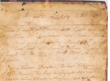 (This is Me is written in red above the entry in the Williams Bible, entries back into the mid 1700's.)