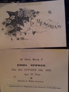 Memorial Card in my possession