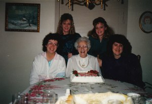 Janet Wright with grand daughters left to right; Cathy, Julie, Krista and Cherie