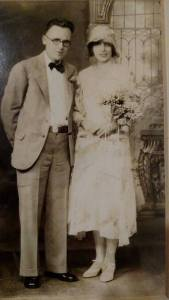 Wedding photo of Frank Wright and Janet Thomson