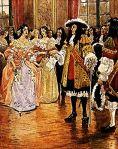 Les filles du Roi  accueillies par Louis XIV en 1663