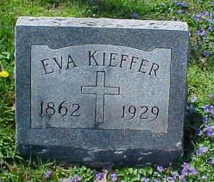 Eva's tombstone in the St. Magdalene Catholic Cemetery in North Madison, Jefferson, Indiana